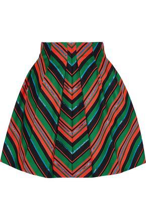 DELPOZO Pleated striped neoprene mini skirt