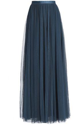 NEEDLE & THREAD Satin-trimmed pleated tulle maxi skirt