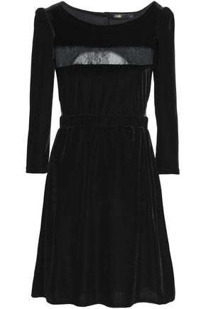 MAJE Lace-paneled velvet mini dress