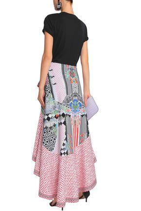 CAMILLA Asymmetric printed neoprene skirt