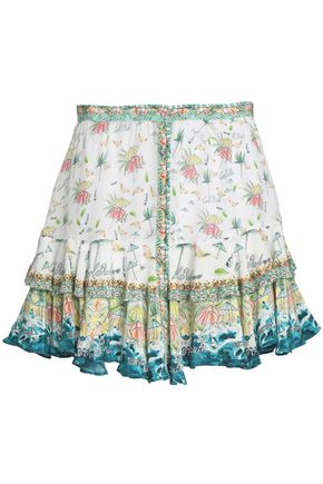 CAMILLA Embellished printed silk mini skirt