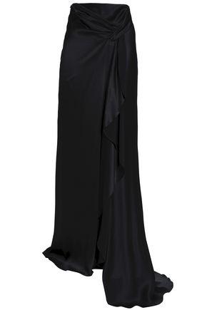 ALBERTA FERRETTI Draped silk-satin maxi skirt