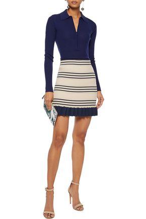 ALICE McCALL You Look Good metallic striped ribbed-knit mini skirt