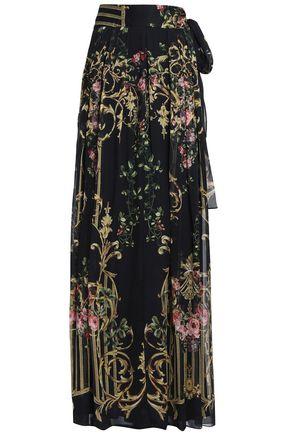 ALBERTA FERRETTI Pleated printed silk-organza maxi skirt