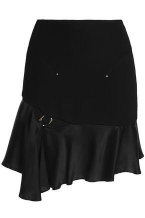 ESTEBAN CORTAZAR Cutout embellished satin and stretch-knit mini skirt