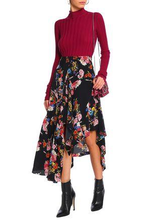 PREEN by THORNTON BREGAZZI Asymmetric silk crepe de chine skirt