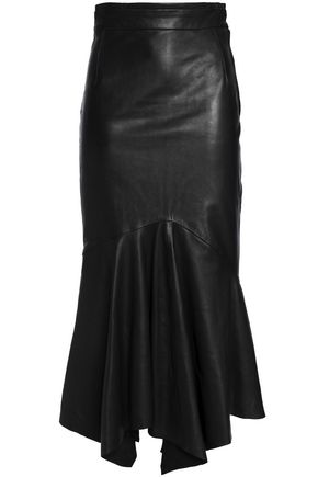 CHALAYAN Asymmetric leather midi skirt