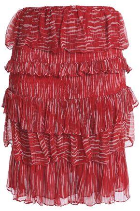 IRO Tiered printed georgette mini skirt
