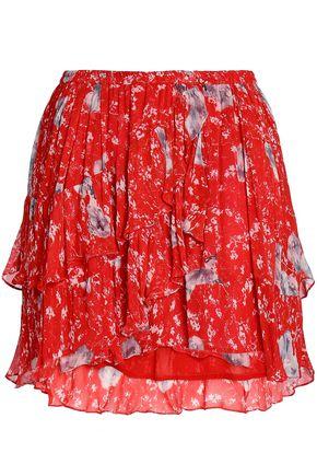 IRO フローラルプリント クレープ ミニスカート