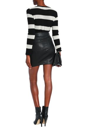 IRO Knotted leather mini skirt