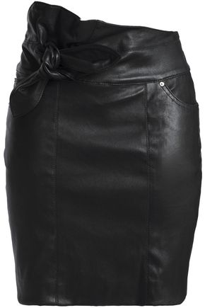 IRO Knotted leather mini skirt