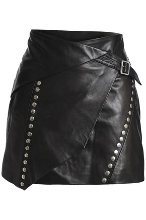IRO Studded leather wrap mini skirt