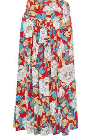 DIANE VON FURSTENBERG Pleated floral-print silk crepe de chine midi wrap skirt