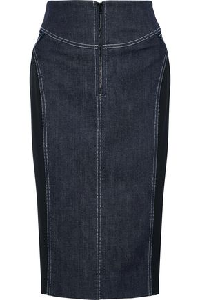 DIANE VON FURSTENBERG Cady-paneled denim pencil skirt