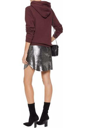 W118 by WALTER BAKER Heather metallic coated textured-leather mini skirt