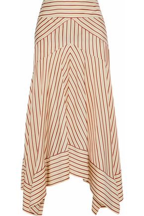 DIANE VON FURSTENBERG Asymmetric striped canvas midi skirt