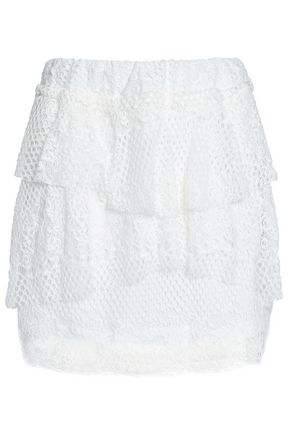 IRO Tiered cotton-blend lace mini skirt
