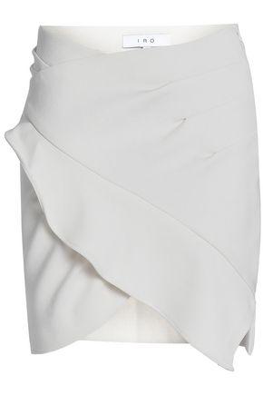 IRO Wrap-effect ruffled crepe mini skirt