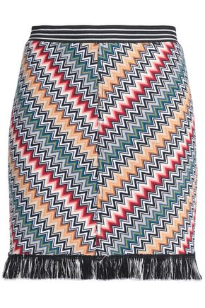 MISSONI Fringed printed stretch-knit mini skirt