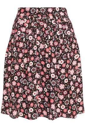 KATE SPADE New York Pleated floral-print crepe mini skirt