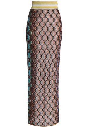 MISSONI Fringed metallic crochet-knit maxi skirt