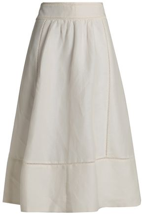 KATE SPADE New York Open knit-trimmed linen-blend midi skirt