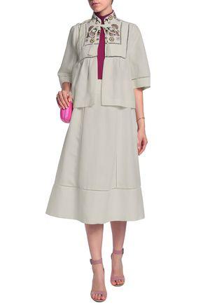 e400b25d091 KATE SPADE New York Open knit-trimmed linen-blend midi skirt