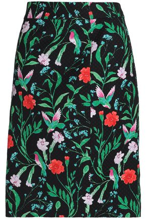 KATE SPADE New York Floral-print cotton-blend jacquard skirt
