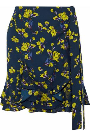 GOEN.J Wrap-effect floral-print chiffon mini skirt