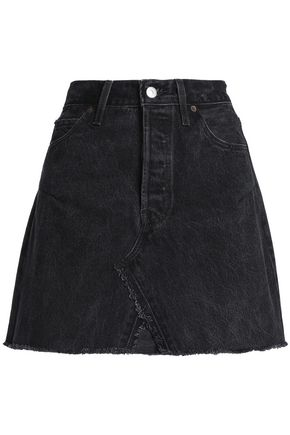 RE/DONE by LEVI'S Frayed distressed denim mini skirt