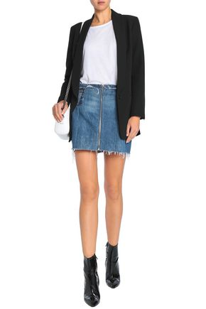 RE/DONE by LEVI'S Patchwork distressed denim mini skirt