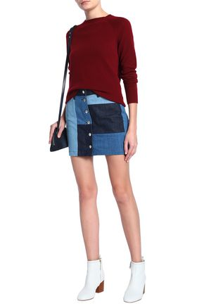 7 FOR ALL MANKIND Patchwork-effect denim mini skirt