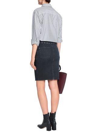 7 FOR ALL MANKIND Embellished denim mini pencil skirt