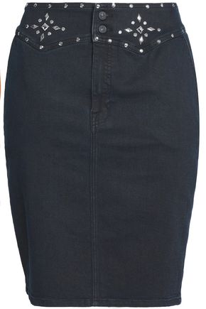 7 FOR ALL MANKIND Embellished denim mini pencil skirt