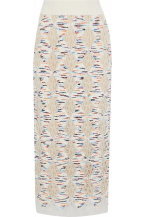 MISSONI Marled open-knit midi skirt