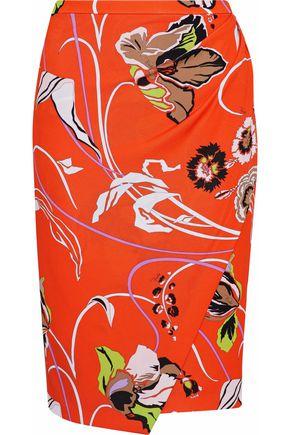 EMILIO PUCCI Wrap-effect floral-print crepe pencil skirt