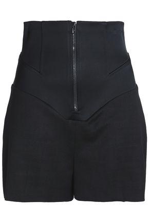 ESTEBAN CORTAZAR Satin-paneled wool-twill shorts
