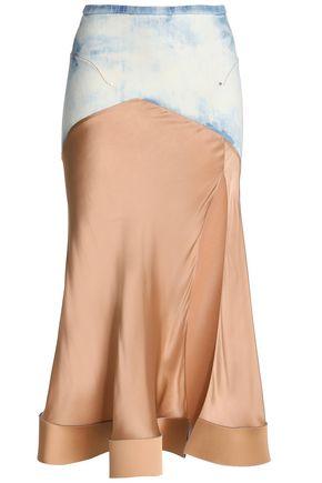 ESTEBAN CORTAZAR Bleached denim-paneled satin midi skirt