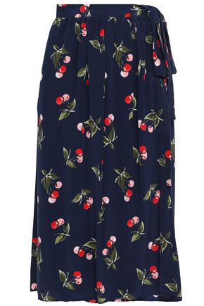 JOIE Printed silk crepe de chine midi wrap skirt
