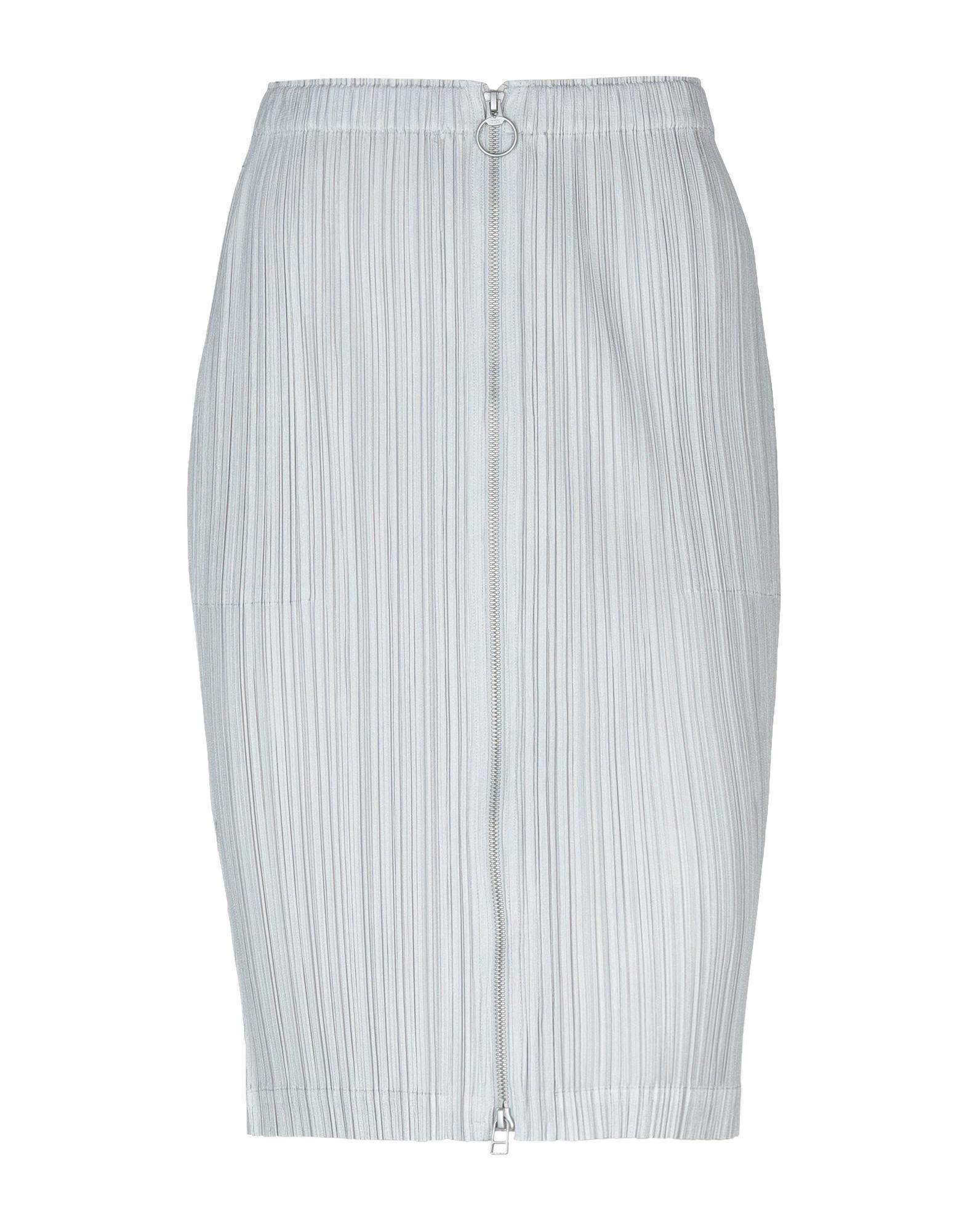 《送料無料》PLEATS PLEASE ISSEY MIYAKE レディース ひざ丈スカート ライトグレー III ポリエステル 100%