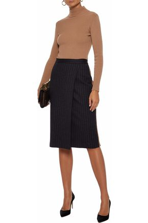 MAX MARA Eracle wrap-effect pinstriped wool and cotton-blend skirt