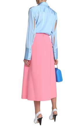 ELLERY Button-embellished woven midi skirt