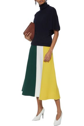 DEREK LAM Color-block cotton midi skirt