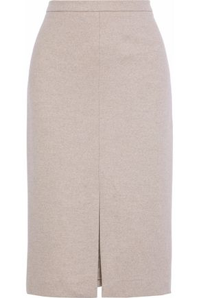 MAX MARA Nanna leather-trimmed wool-jersey pencil skirt