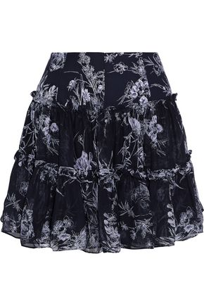 CINQ À SEPT Mirabelle gathered floral-print silk-georgette mini skirt