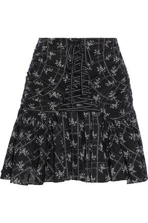 CINQ À SEPT Amelia lace-up printed cotton-voile mini skirt
