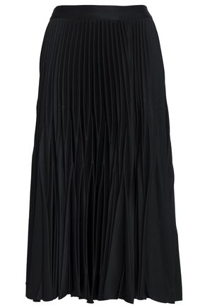 NICHOLAS Pleated crepe midi skirt