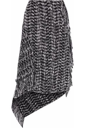 ROLAND MOURET Pickhill asymmetric cotton-blend tweed midi skirt