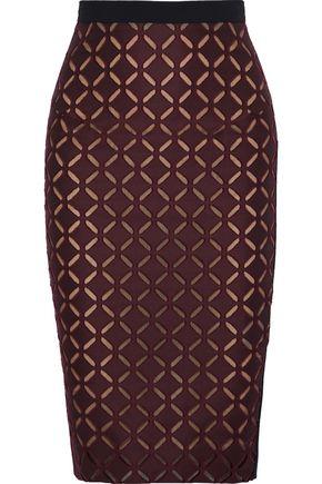 ROLAND MOURET Cutout crepe pencil skirt