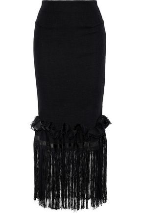 ROLAND MOURET Harlthorpe fringed cady-paneled cotton-blend maxi skirt